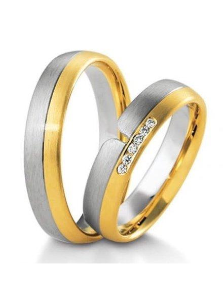 Breuning Wit- met geelgouden trouwringen 48/04159 48/04160