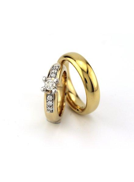 Geelgouden trouwringen paar 3