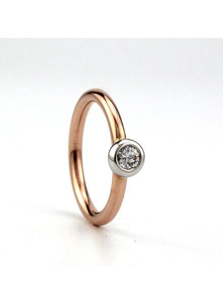 Bregje de Goudsmid Rosegouden ring met 0.20ct diamant F VVS