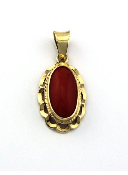 Tomylo Tomylo gouden hanger met bloedkoraal