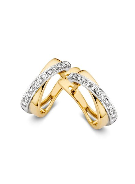 ROEMER ROEMER bicolor gouden oorringen met briljant