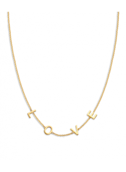 Just Franky Just Franky Love Letter Necklace met 4 initialen 42/44 cm