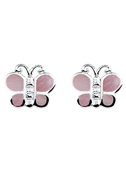 Zilver oorknoppen vlinder roze