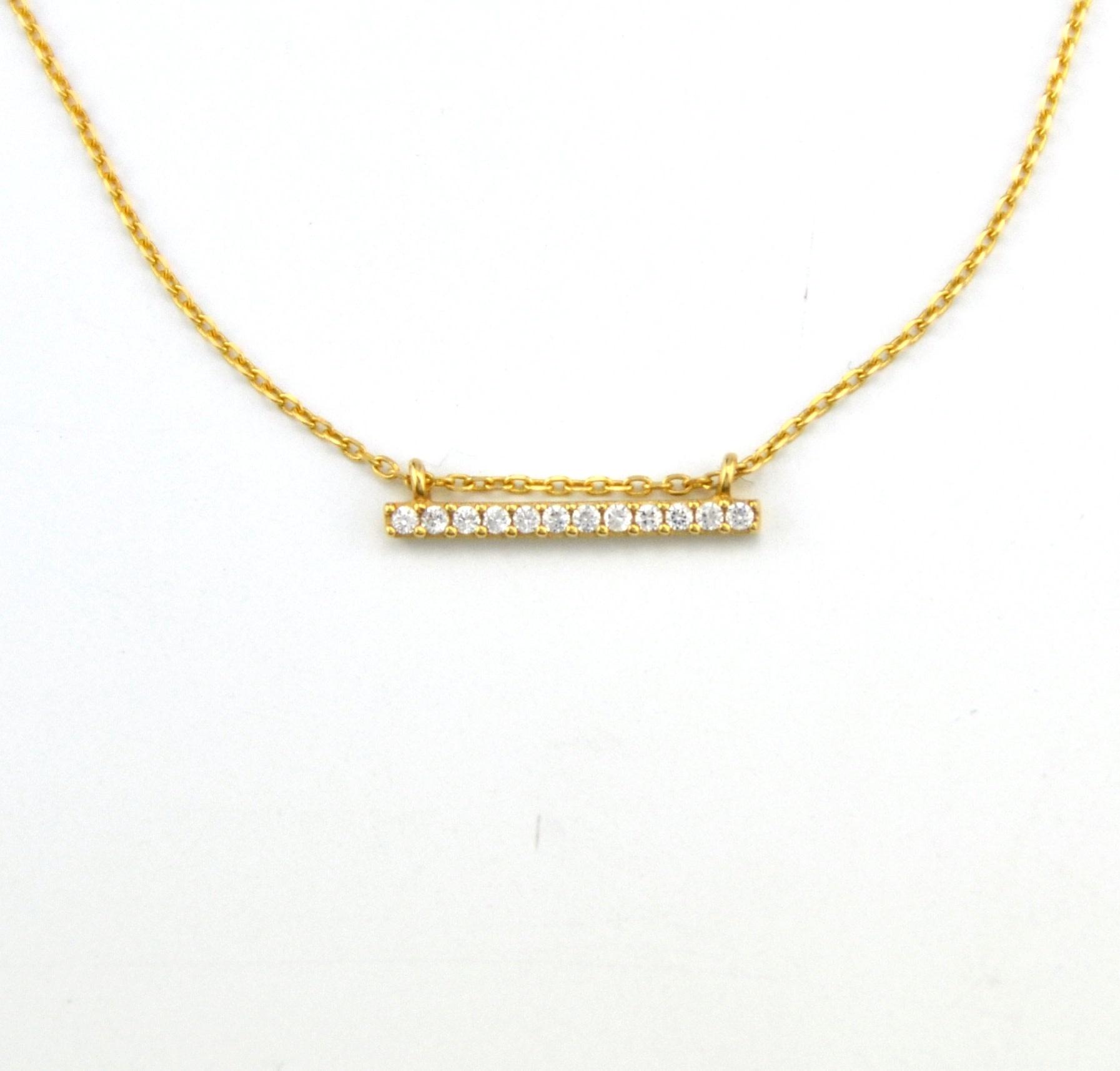 Tomylo 14 kt geelgouden ketting met zirkonia's 235291