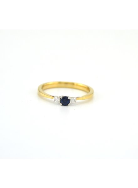 ROEMER ROEMER geelgouden ring met diamant en Saffier