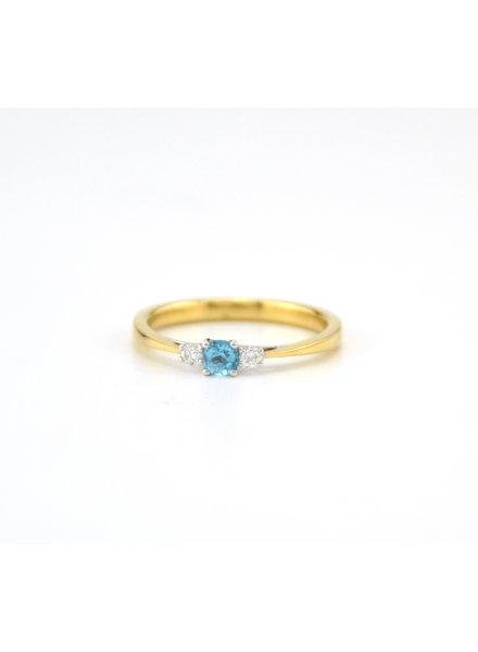 ROEMER ROEMER geelgouden ring met diamant en Topaas