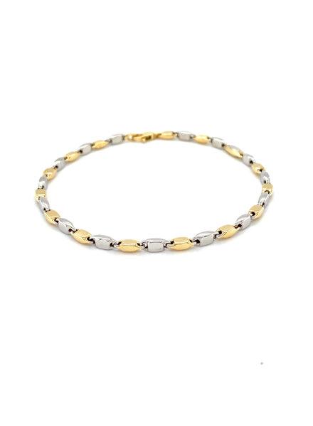 Monzario Oro Monzario armband 1182Abic 19cm wit/geelgoud 14k.