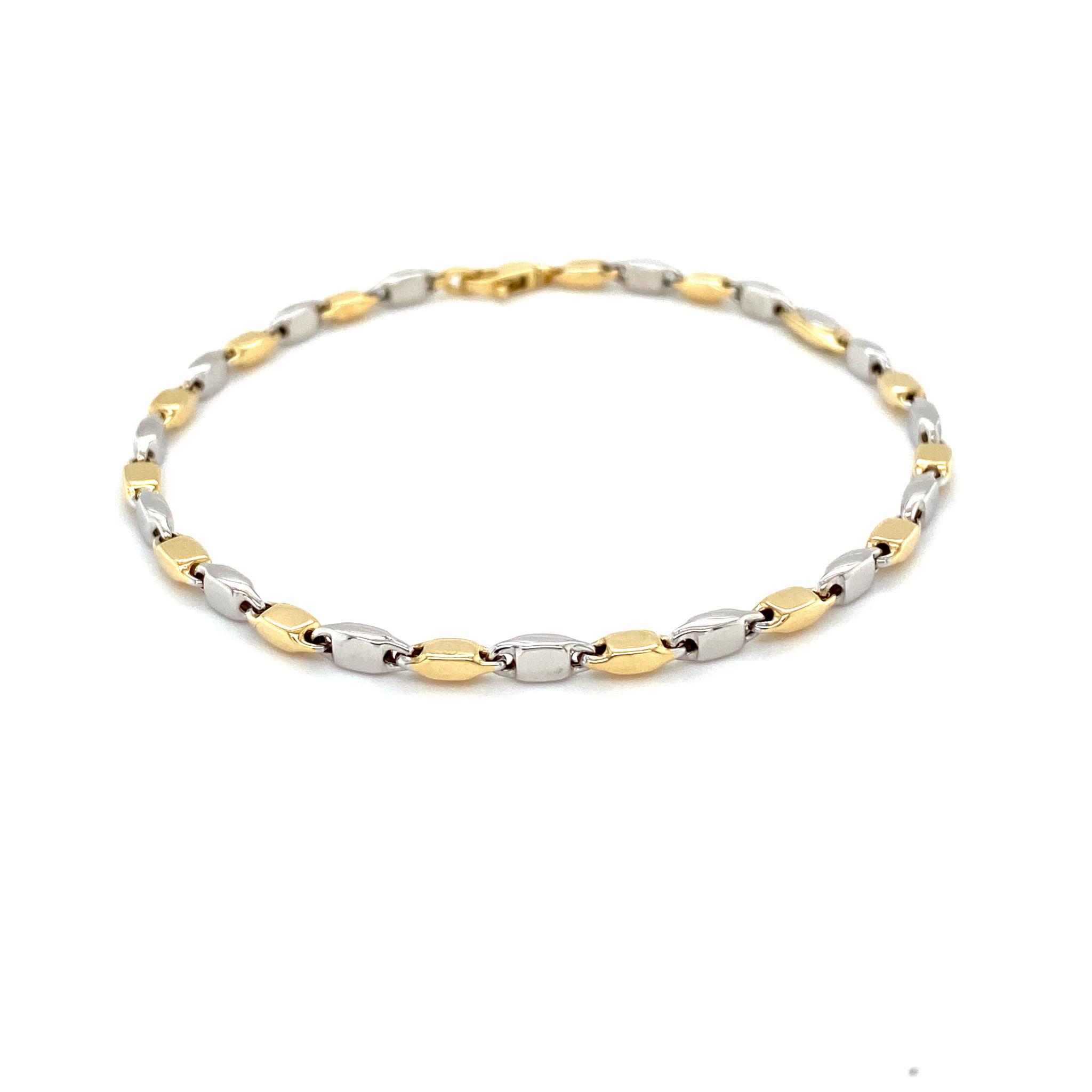 Monzario Oro Monzario aarmband 1182Abic 19cm wit/geelgoud 14k.