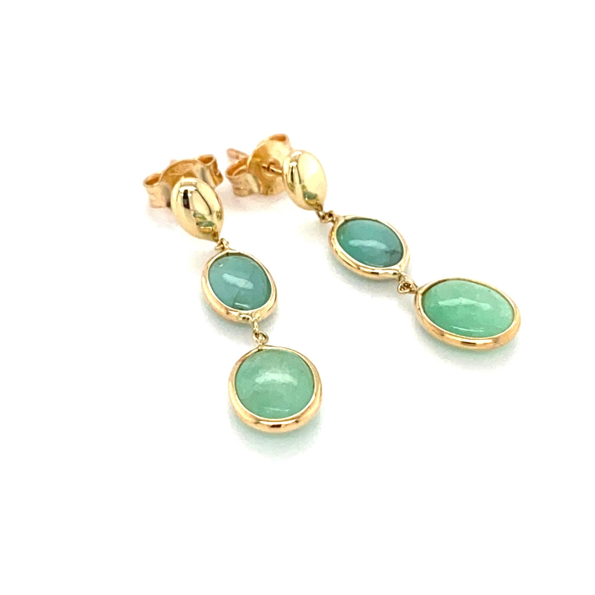 Monzario Oro Monzario oorhangers 01249Geel met Smaragd 14k. goud