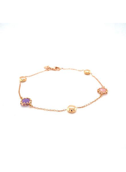 Monzario Oro Monzario rosegouden armband met roze en paarse kwarts 1054A