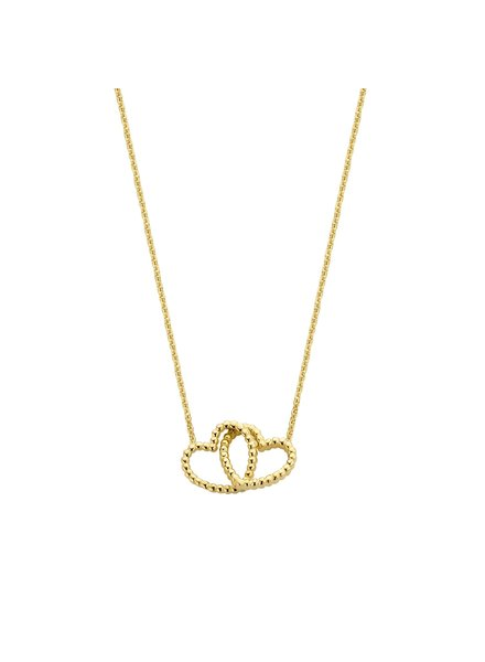 Just Franky Just Franky Double Open Hearts necklace 39-41