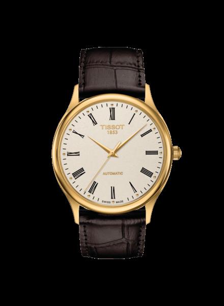 Tissot Tissot Excellence gouden heren horloge met leren band