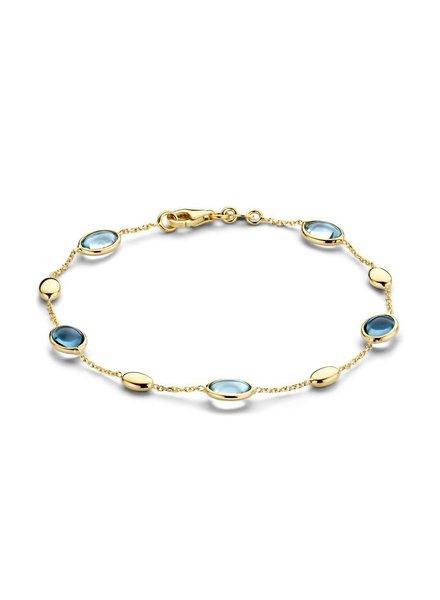 ROEMER ROEMER geelgouden armband met blauwe topaas
