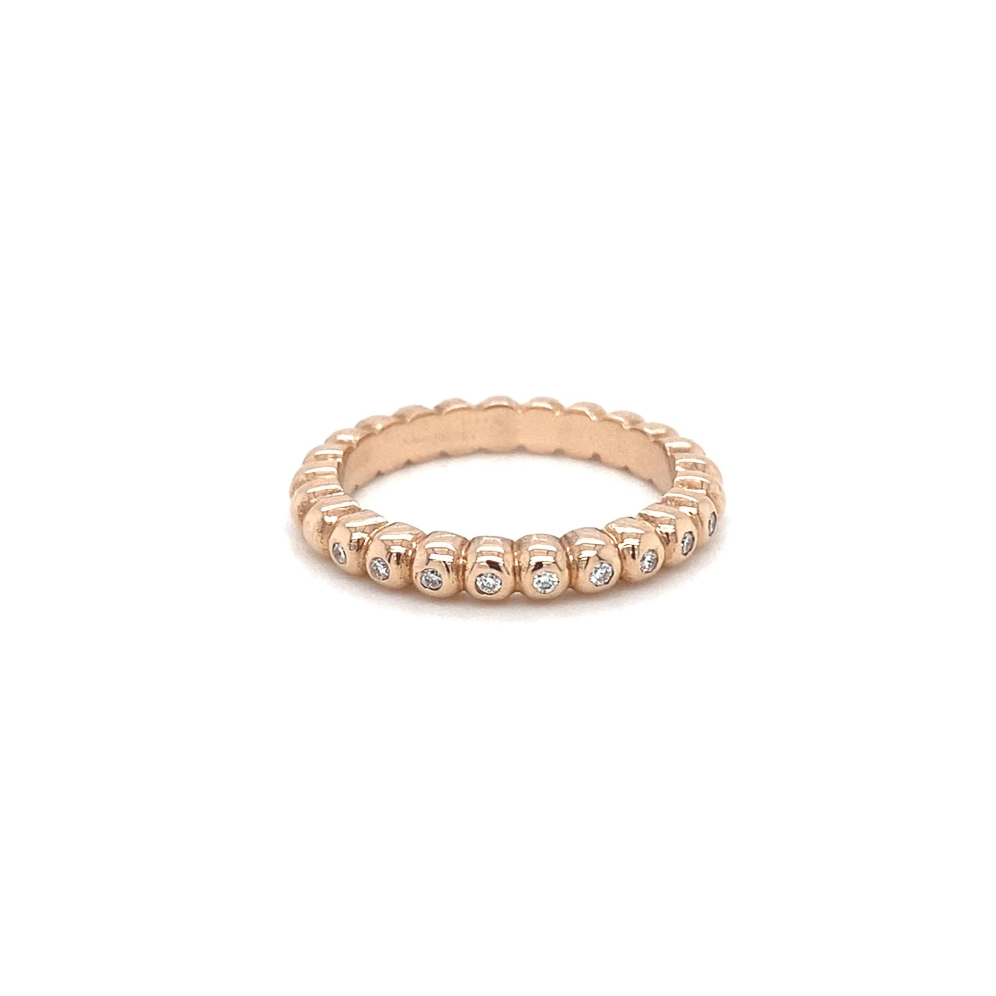 ROEMER by Bregje ROEMER by Bregje roségouden ring met bolletjes en diamant