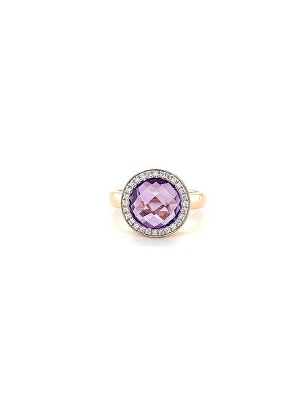 Passione Rosegouden ring met dome geslepen amethyst 4,01ct en 0.14ct briljant Hsi