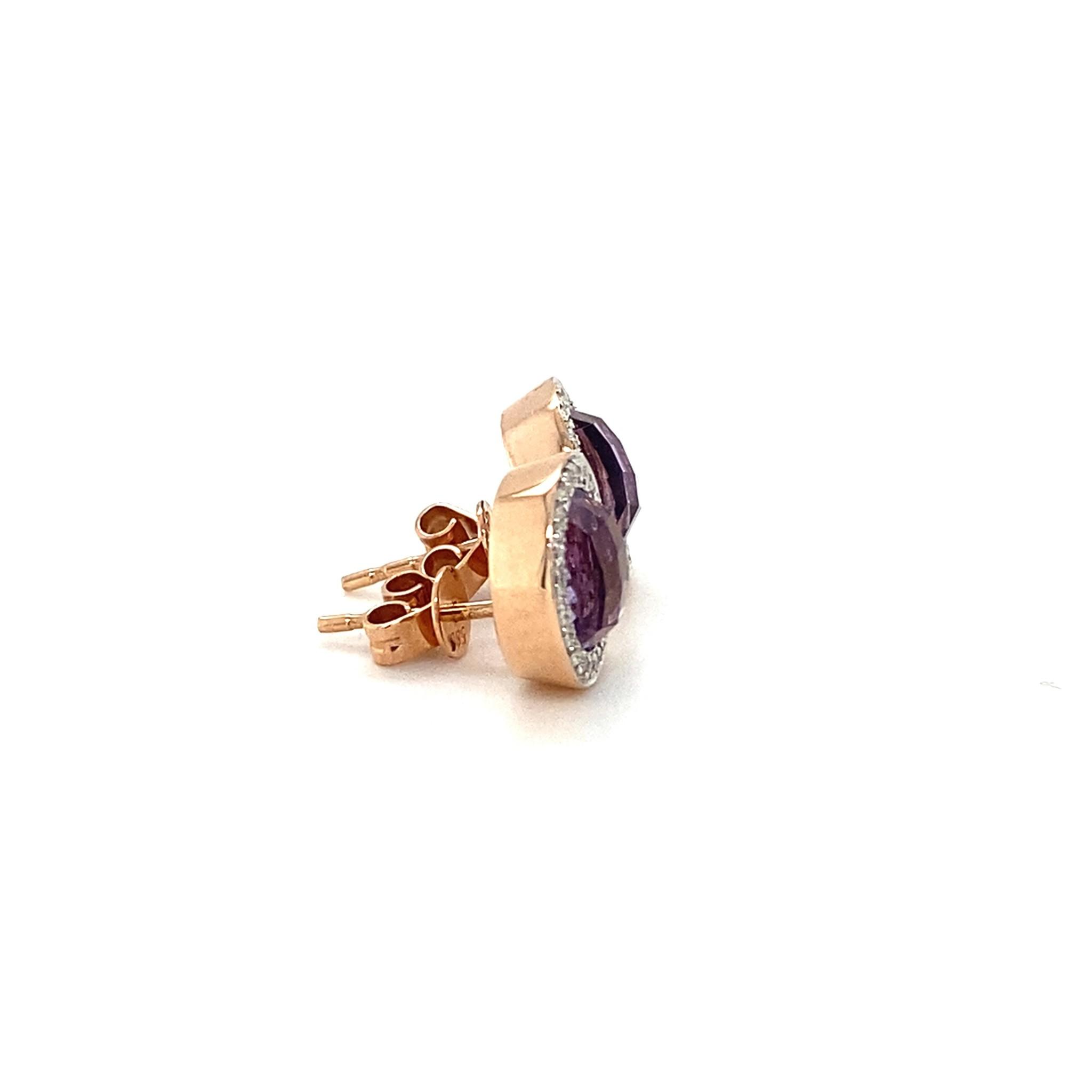 Passione Tomylo 14K rosegouden oorknoppen met dome geslepen amethyst 4,44ct en 0.17ct briljant Hsi