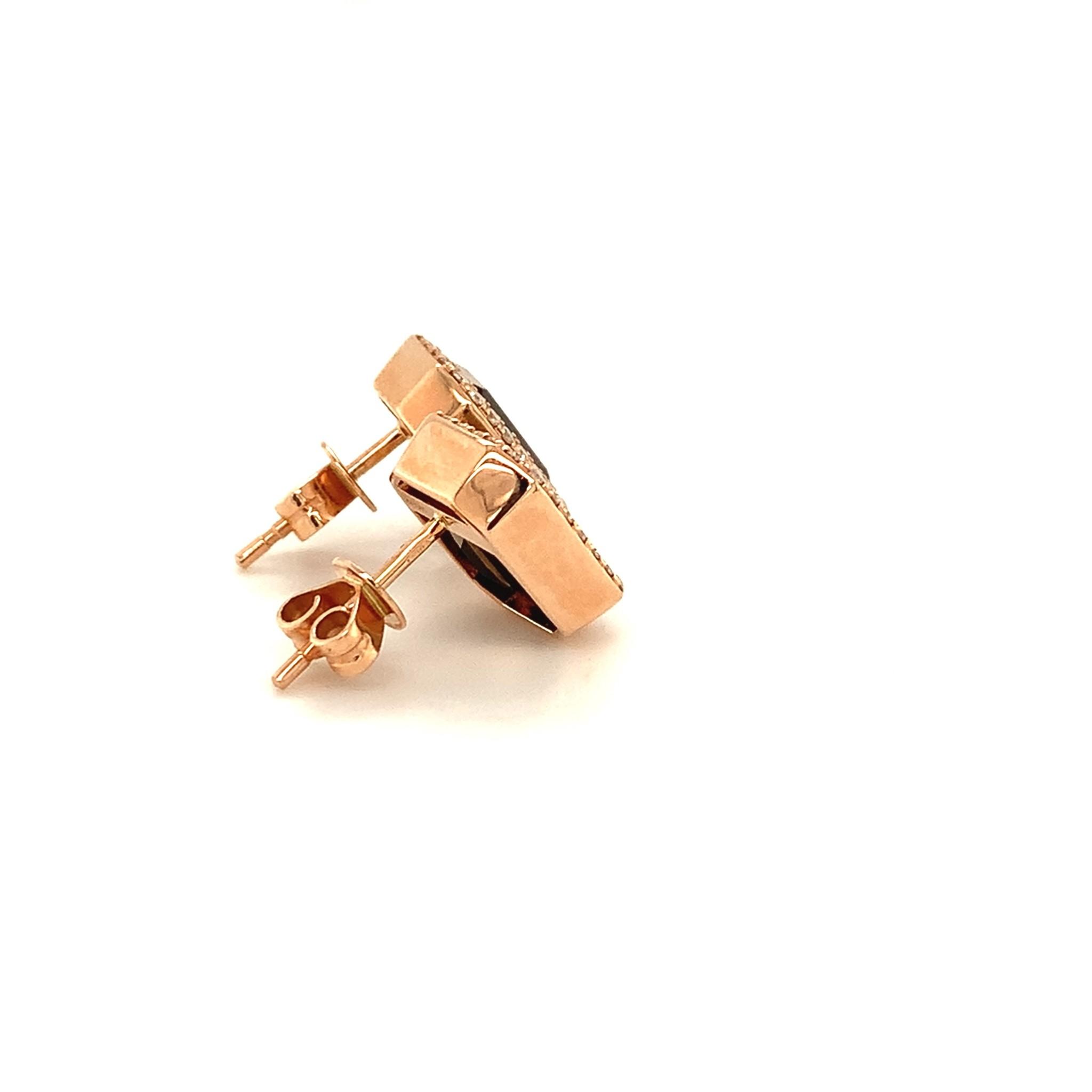 Passione Rosegouden oorknoppen met emeraude geslepen rookkwarts 4,40ct en 0.31ct briljant Hsi