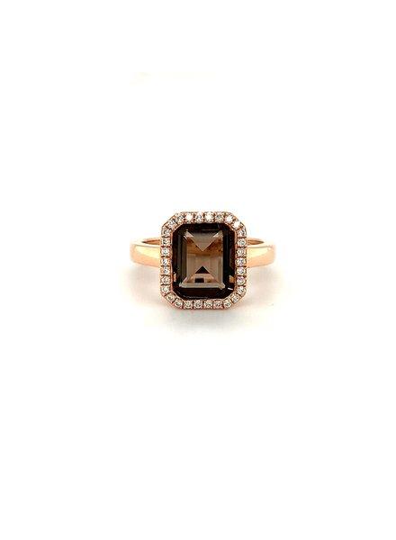 Passione Rosegouden ring met 2.80ct Rookkwarts emeraude slepen met 0.18ct briljant Hsi
