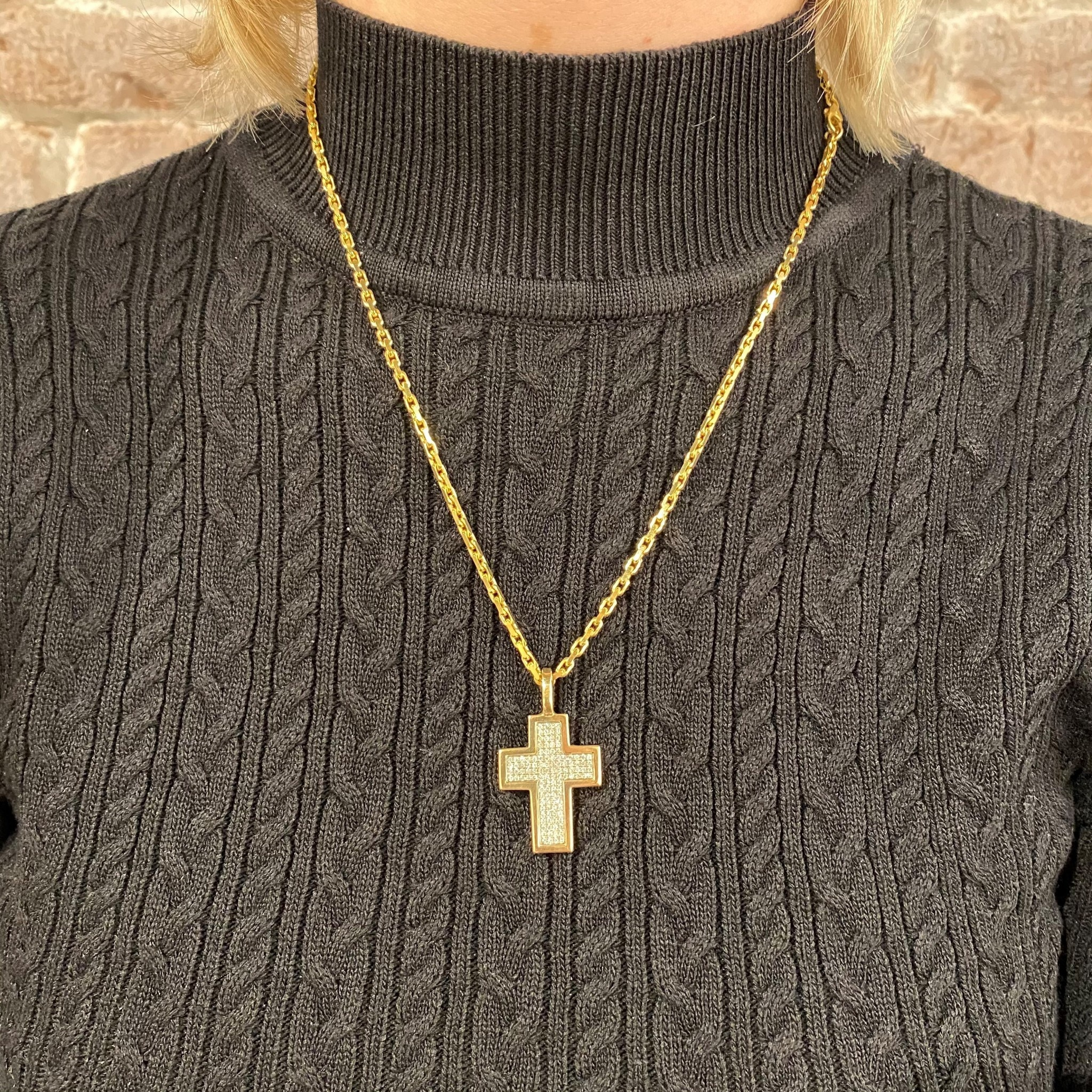 ROEMER ROEMER bicolor gouden kruis met briljanten