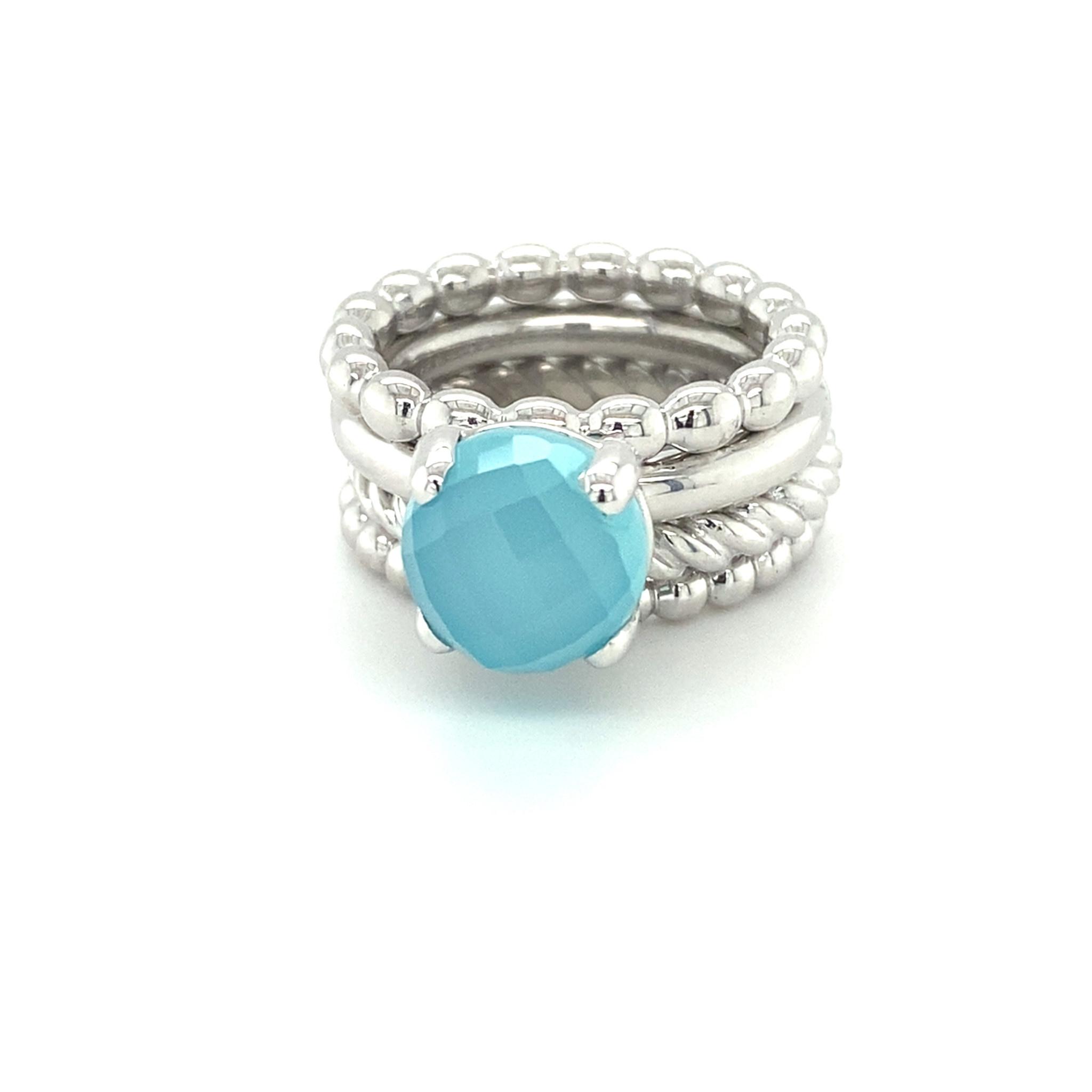 ROEMER by Bregje ROEMER by Bregje witgouden ring met blauwe chalcedoon