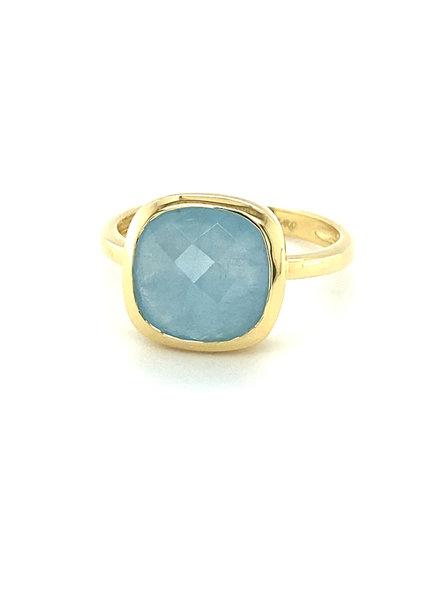 Monzario Oro Monzario gouden ring met Aquamarijn briolet maat 54
