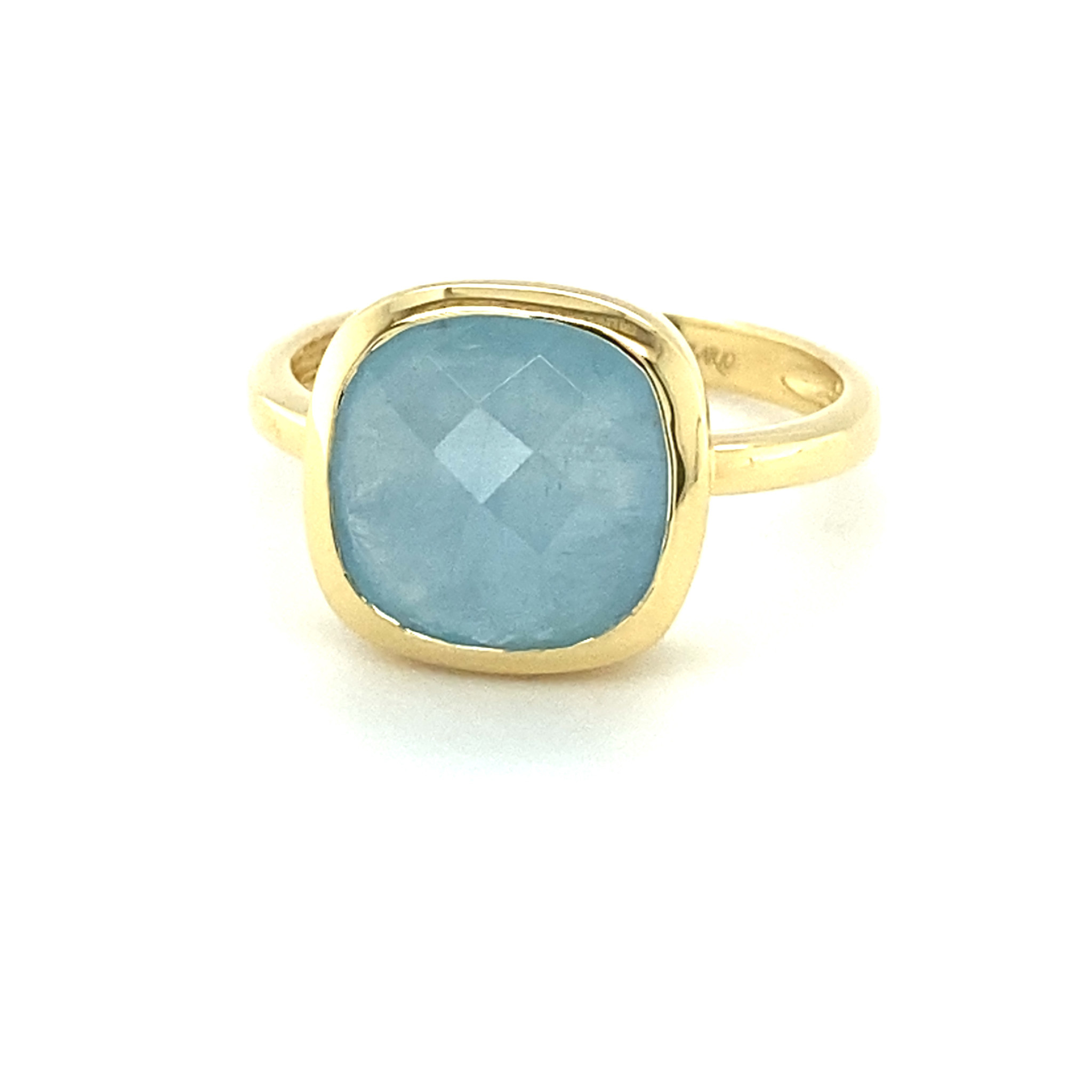 Monzario Oro Monzario gouden ring met Aquamarijn brioliet maat 54