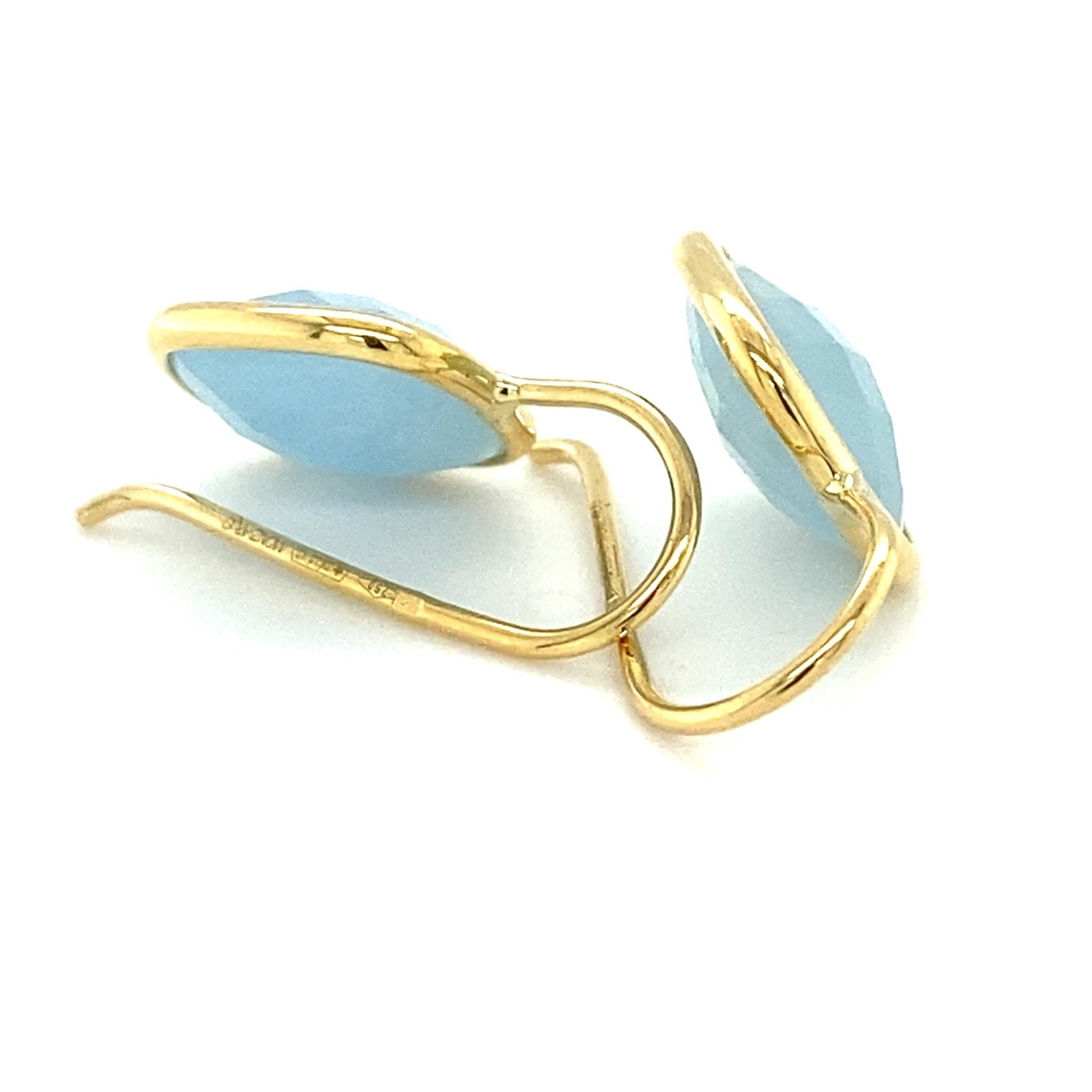Monzario Oro Roemer gouden oorhangers met Aquamarijn brioliet