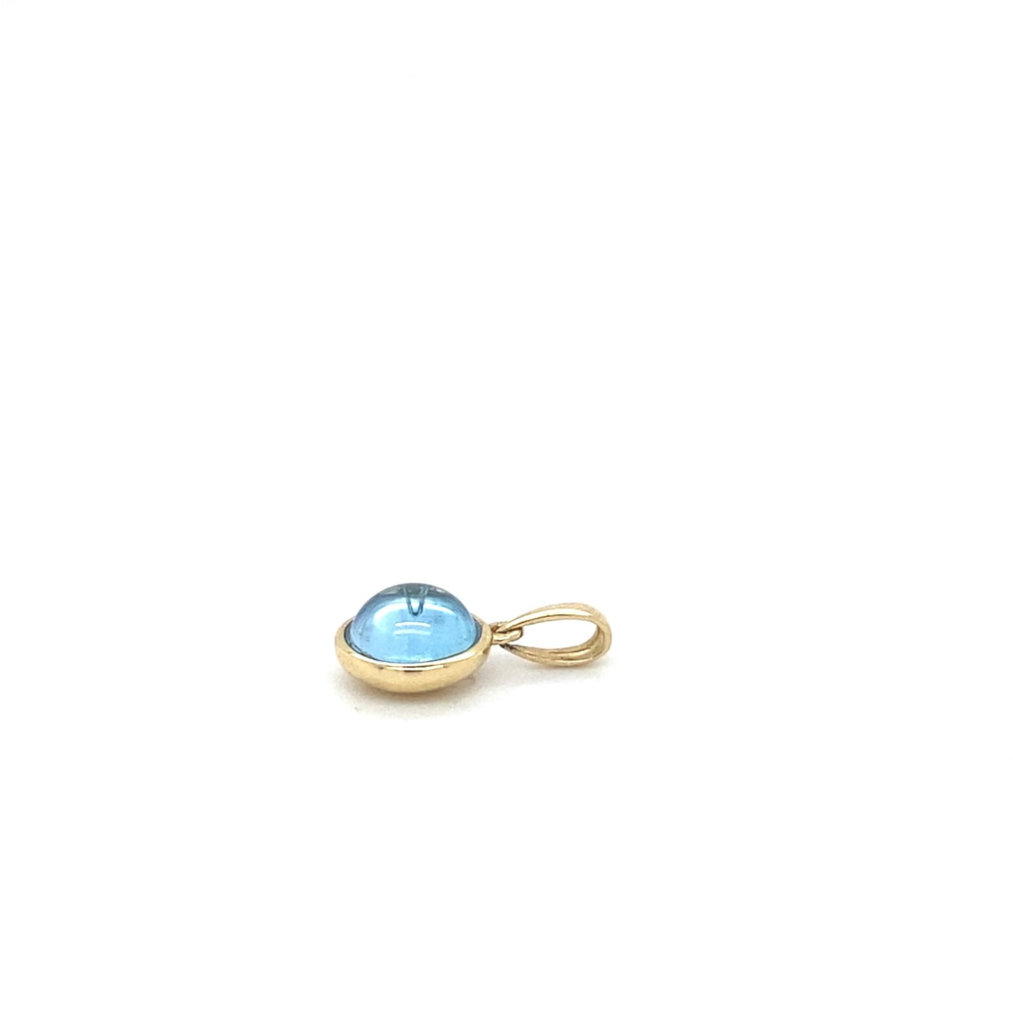 Passione Geelgouden hanger met blauwe topaas 1.59ct