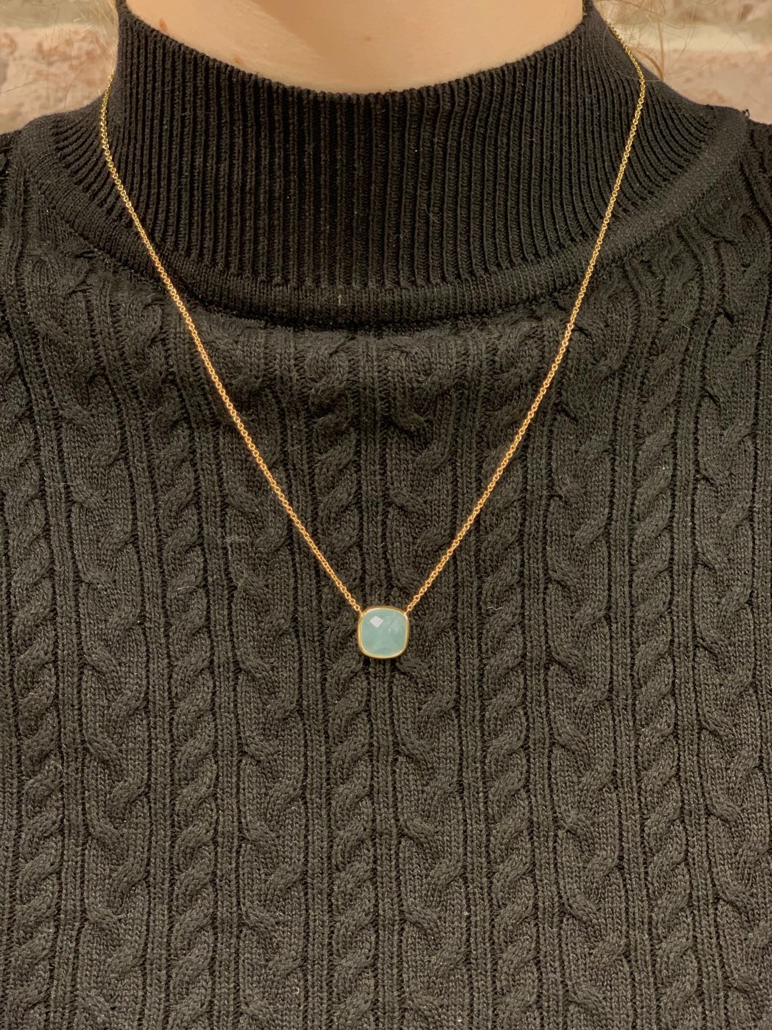 Monzario Oro Monzario geelgouden collier met Aquamarijn brioliet