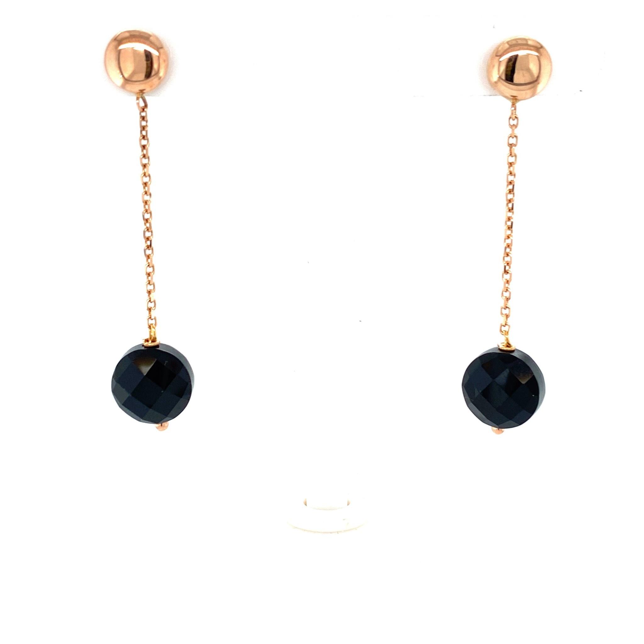 Monzario Oro Monzario rosegouden oorhangers met onyx O1198R