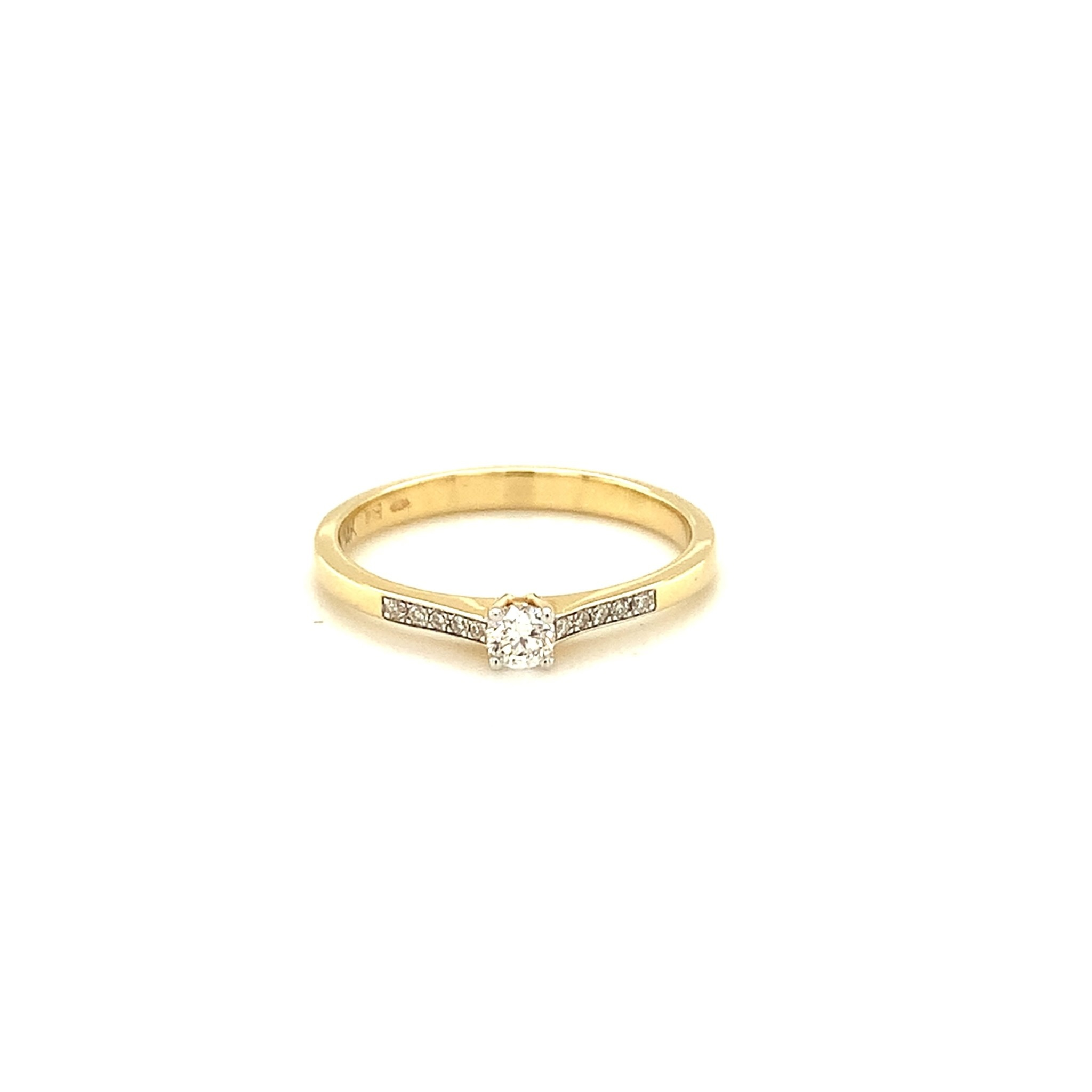 Passione Geelgouden ring met diamant 0.12ct H sI en 10x =0.05ct Hsi