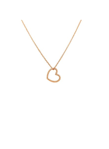 Just Franky Just Franky Vintage Heart ketting rosegoud 42-44cm