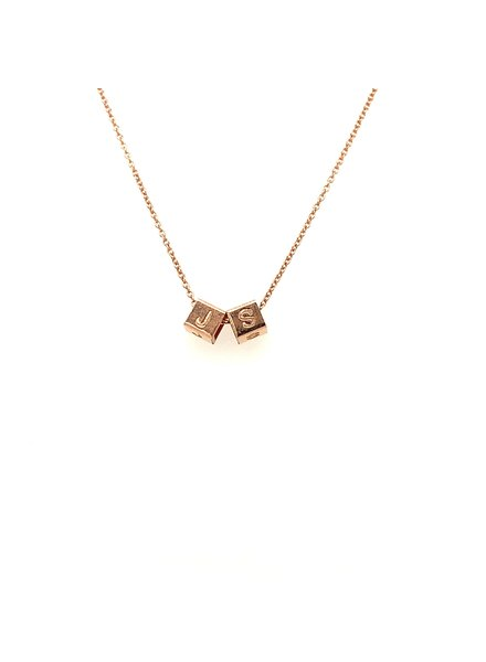Just Franky Just Franky Rose gold Cube Necklace met twee cubes