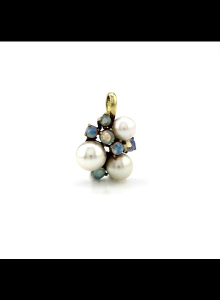 ROEMER ROEMER geelgouden hanger met parels en opaal