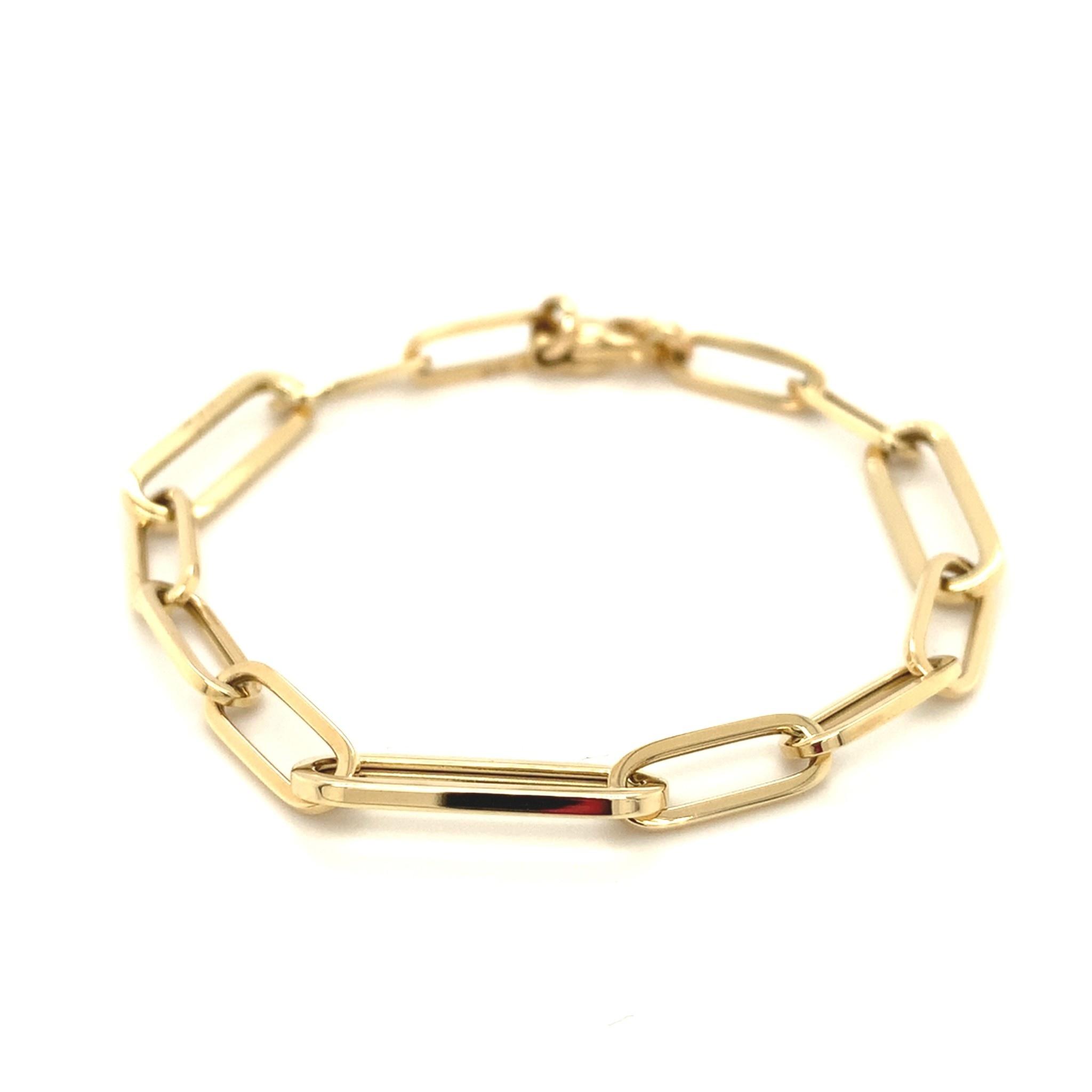 Monzario Oro Monzario Geelgouden paperclip armband 1274A