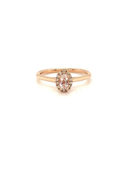 ROEMER ROEMER rosegouden ring met Pink Morganite 0.24ct en diamant FG Si0.06ct