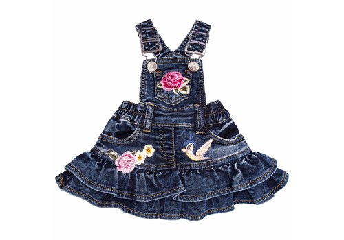 Monnalisa Monnalisa Dungaree Jeans With Rose And Bird