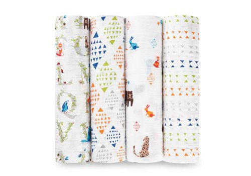 Aden & Anais Aden & Anais Swaddles Paper Tales 4-Pack