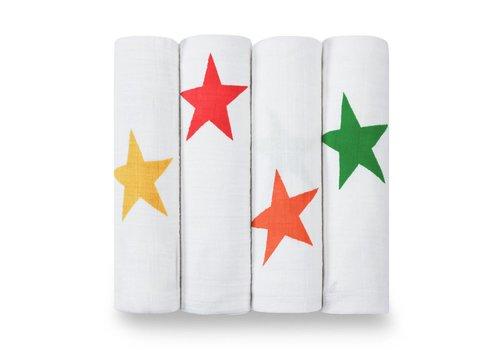 Aden & Anais Aden & Anais Swaddles Super Stars 4-Pack