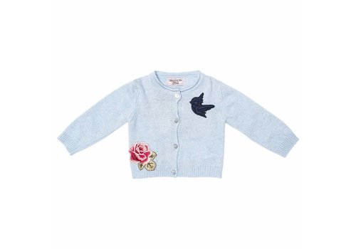 Monnalisa Monnalisa Gilet Light Blue Pink And Little Bird