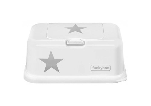 Funkybox Funkybox Baby Wipes Box Star Silver - White