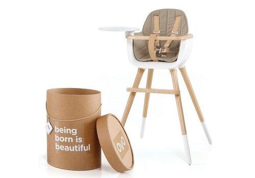 Ovo one hoge stoel wit + verlengstukken + kussen beige