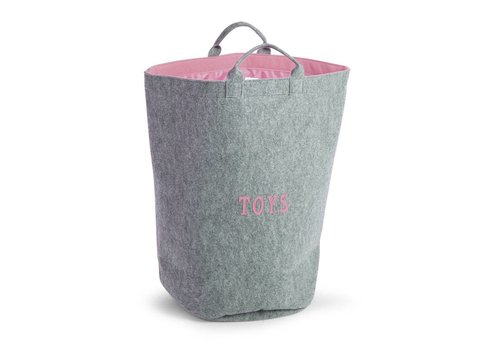 Childhome Childhome Felt Toy Bag Round Grey - Pink