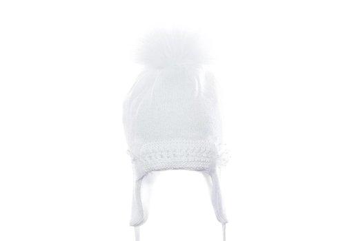 Il Trenino Il Trenino Hat White With Pom Pom And Ribbons