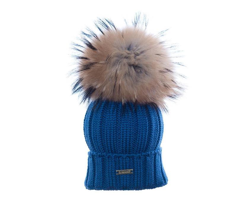 Il Trenino Hat Blue Melange With Big Pom Pom