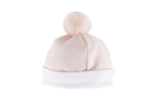 Theophile & Patachou Theophile & Patachou Hat Jersey Waffled Pom Pom Fur Pink