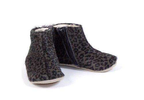 Petit Nord Petit Nord Schoen Met Rits Grey Leopard