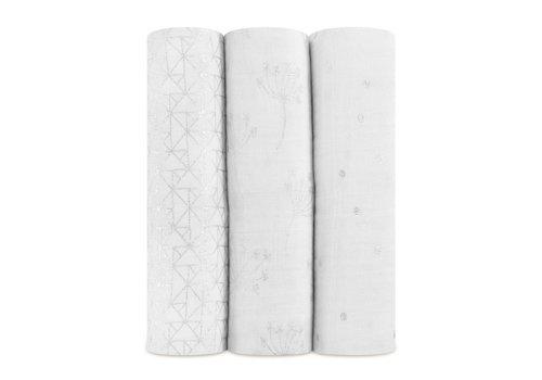 Aden & Anais Aden & Anais Tetradoeken Metallic Silver Deco 3-Pack