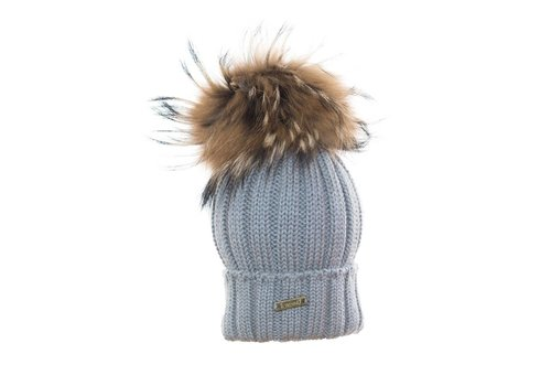 Il Trenino Il Trenino Hat Grey With Big Pom Pom