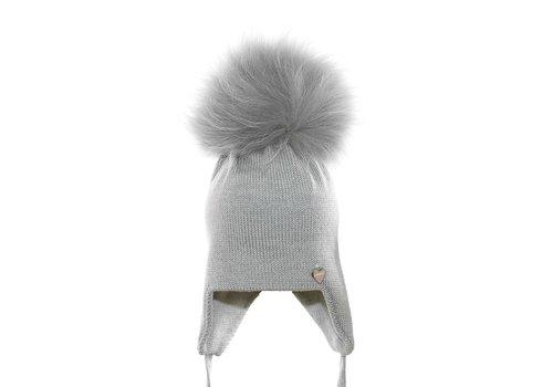 Il Trenino Il Trenino Hat Grey With Pom Pom And Ribbons